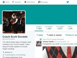 Rutgers coach Scott Goodale's profile photo on Twitter depicts a special memory. (Photo: Twitter)