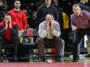 Rutgers coach Scott Goodale, assistant coach John Leonardis and associate head coach Donny Pritzlaff, pictured left to right, helped wrestling climb to a No. 6 national ranking this season. (Photo: Keith A. Muccilli/ Correspondent)