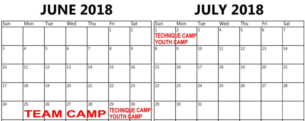 summer 2018 wrestling camp calendar