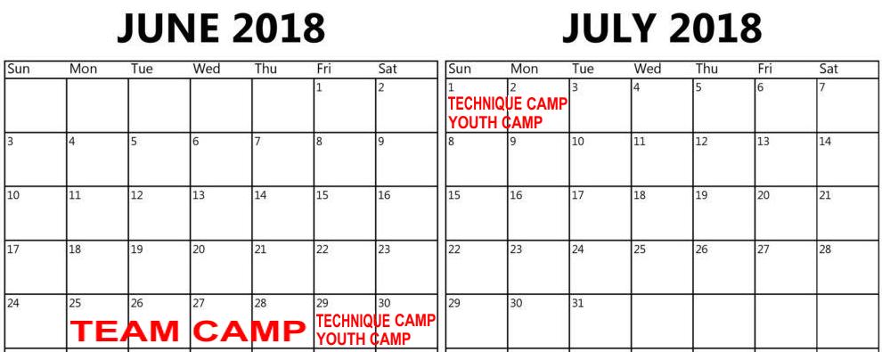 summer 2018 wrestling camp calendar